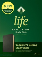 NLT Life Application Study Bible, Third Edition--black  genuine leather, red-letter