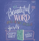 NIV Beautiful Word Coloring Bible for Girls Gift Set--soft leather-look over board, teal