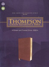 NASB 1977 Thompson Chain-Reference Bible--soft leather-look, brown