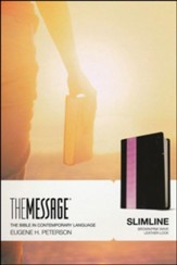 Message Slimline Bible--soft leather-look, brown/pink - Slightly Imperfect