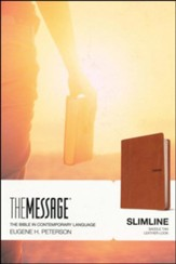 Message Slimline Bible--soft leather-look, brown - Imperfectly Imprinted Bibles