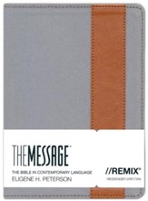 The Message//REMIX Bible--Canvas with leather-look stripe, grey/tan