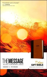 The Message Deluxe Gift Bible, Brown/Saddle Tan Leather-Look