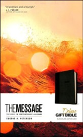 The Message Deluxe Gift Bible, Black/Slate Leather-Look