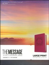 The Message Bible, Dusty Rose Floral Large Print Leather-Look - Slightly Imperfect