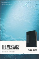 The Message Bible, Black/Slate Leather-Look