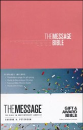 The Message Gift and Award Bible, Imitation Leather, Coral