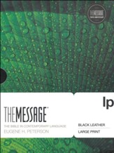 The Message, Large Print Premium Leather, Black  - Imperfectly Imprinted Bibles