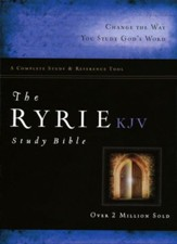KJV Ryrie Study Bible Black Genuine Leather Red Letter Thumb-Indexed