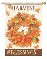 Harvest Wreath, Blessings Flag, Large