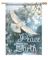 White Dove, Peace On Earth Flag, Large