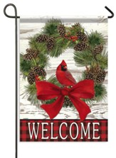 Welcome Cardinal Wreath Flag, Small