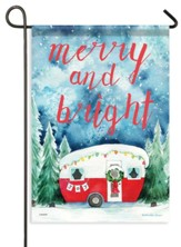 Christmas Camper, Merry and Bright Flag, Small