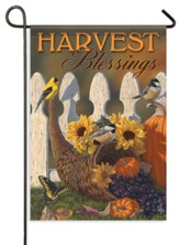 Autumn Harvest Cornucopia, Harvest Blessings Flag, Small