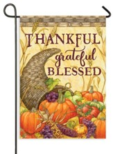 Cornucopia, Thankful Grateful Blessed Flag, Small