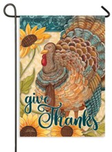 Sunflower Turkey, Give Thanks Flag, Small