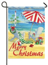 Coastal Holiday Chairs, Merry Christmas Flag, Small