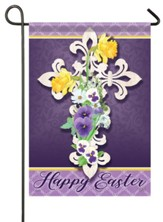 Happy Easter, Filigree Cross Small Flag