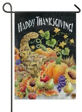 Happy Thanksgiving, Chalkboard Cornucopia, Flag, Small