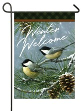 Winter Welcome, Chickadees and Pine, Glitter, Flag, Small