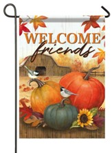 Welcome Friends, Pumpkins, Flag, Small