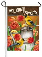 Welcome Friends, Goldfinch and Zinnias, Flag, Small