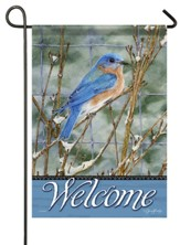 Welcome, Winter Bluebird, Flag, Small