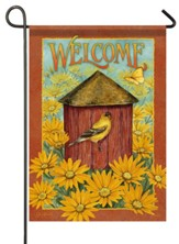 Welcome, Daisy and Birdhouse, Flag, Small