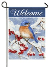 Welcome, Bluebird and Berries, Flag, Small