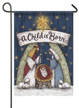 A Child Is Born, Wood Carved Nativity, Flag, Small