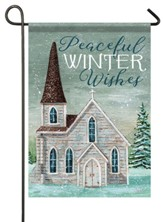 Peaceful Winter Wishes, Church, Flag, Small