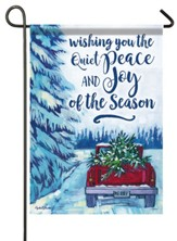 Wishing You the Quiet Peace and Joy of the Season, Red Truck, Flag, Small