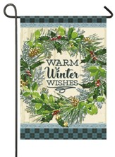 Warm Winter Wishes, Snowy Wreath, Flag, Small