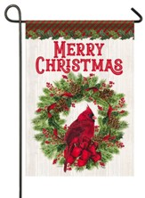 Merry Christmas, Cardinal and Wreath, Flag, Small