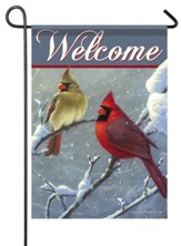 Welcome, Winter Cardinals, Flag, Small