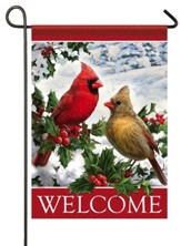 Welcome, Cardinals and Holly, Flag, Small