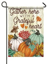 Gather Here With A Grateful Heart, Pumpkins, Flag, Small