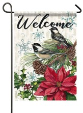 Welcome, Pine and Poinsettias, Flag, Small
