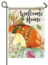 Welcome Home, Watercolor Pumpkins, Flag, Small