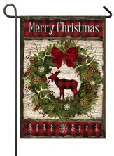 Merry Christmas, Woodland Wreath, Flag, Small