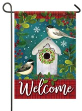 Welcome, Chickadee Birdhouse, Flag, Small