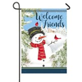 Welcome Friends, Cardinal Snowman, Flag, Small