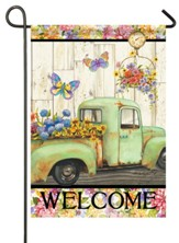 Welcome, Pickup Truck, Fresh Flowers, Flag, Garden