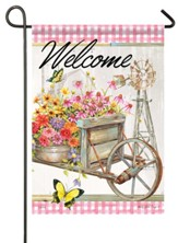 Welcome, Garden Wheelbarrow, Flag, Small