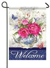 Welcome, Teapot Garden Flag, Small