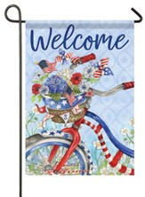 Welcome, Patriotic Summer Bike, Flag, Small