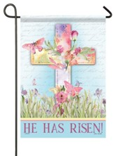 He Has Risen, Watercolor Sunrise, Flag, Small