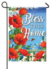 Bless This Home, Colorful Garden, Glitter Flag, Small