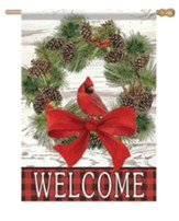 Welcome Cardinal Wreath Flag, Large