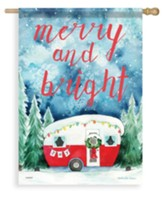 Christmas Camper, Merry and Bright Flag, Large